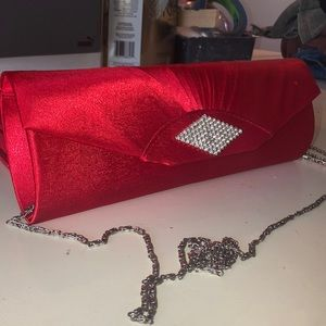 red hand bag